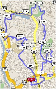 New 2009 Asheville Citizen-Times Half Marathoun Race Course
