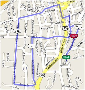 Course for the 30th Running of the Bele Chere Race (5k)