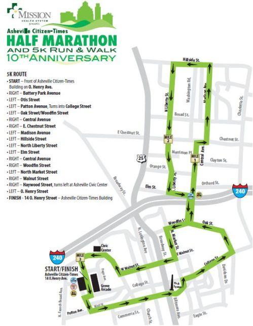Asheville Citizen-Times 5k Course 2009