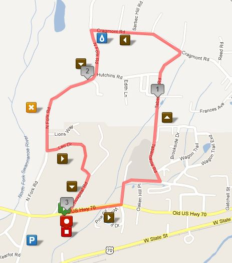 Black Mountain Greenway Challenge 5k Course (click for interactive version at MapMyRun)