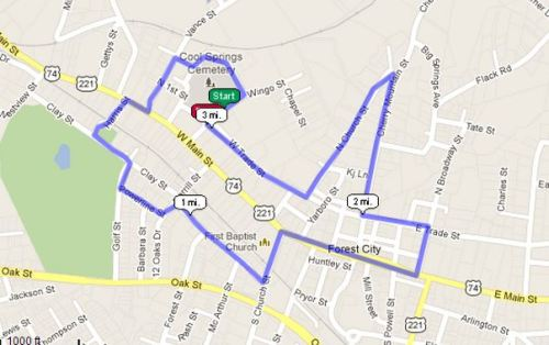 Forest City NC Valentine 5k Course (click for interactive version at USATF.ORG)