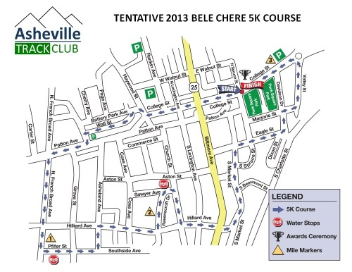 2013 Tentative Bele Chere 5k Course Map