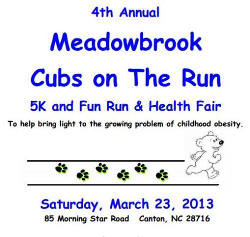 Meadowbrook Cubs on the Run 5k Logo 2013