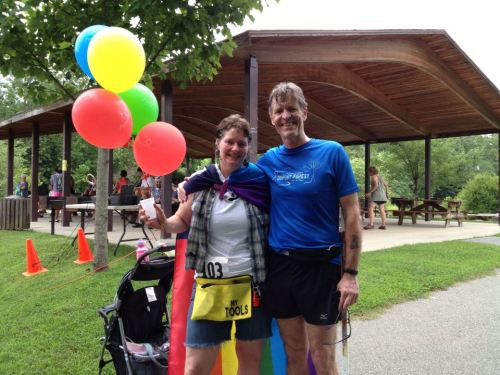 Lynn Rapp and Dennis Duffy after completing the Blue Ridge Pridce Gay 5k