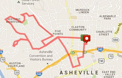 Thomas Wolfe 8k Course Map (click for interactive version at Map My Run)