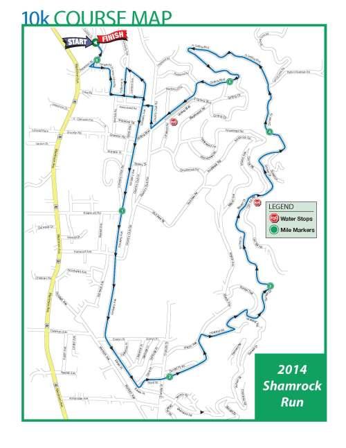 Shamrock 10k Course Map
