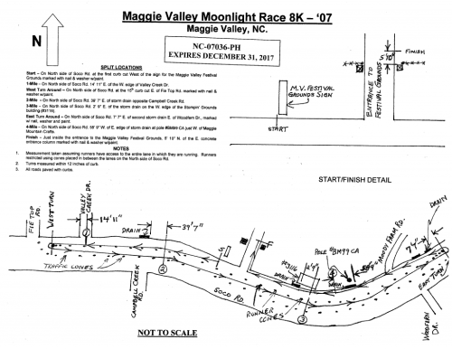 Maggie Valley Moonlight Race Certified Course Map (click for larger image)