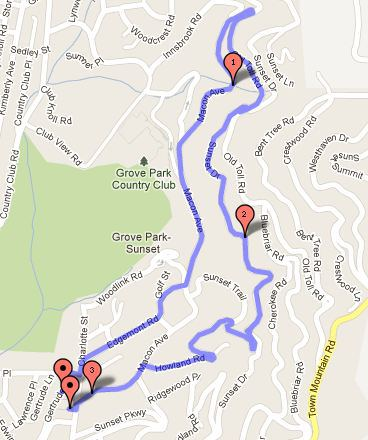 Sunset Stampede 5k Course Map - Click for interactive version.