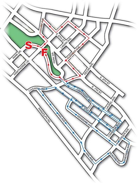 Elizabeth 8k Road Race Course Map