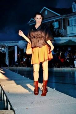 blk jacket & brn skirt