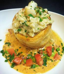 South Beach Grill_Bay scallop risotto over puff pastry with Tasso ham BBQ sauce