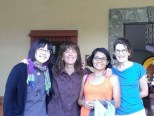Last day of class. Ryoko, from Kobe, Japan; Lita from Nelson, British Columbia and Angeles, our teacher