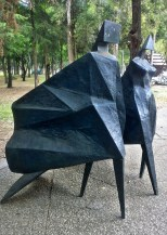 Sculpture in the garden outside of the Rufino Tamayo museum along Paseo de la Reforma
