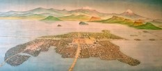 View of the city of Tenochtitlan when the Spaniards arrived in the early 1500s