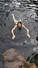 Swimming in the slate lined spring fed pool