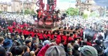 We counted 54 men carrying the statue on their shoulders. About every 30 minutes they rotated out to another new group.