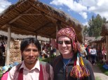 Alvaro watched the Super Bowl from Chinchero. Bill was honored to be allowed to wear his hat.