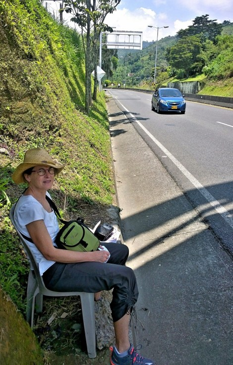 Sitting by the side of the road