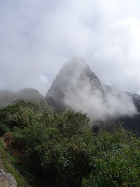 Waynu Picchu coming out of the clouds.