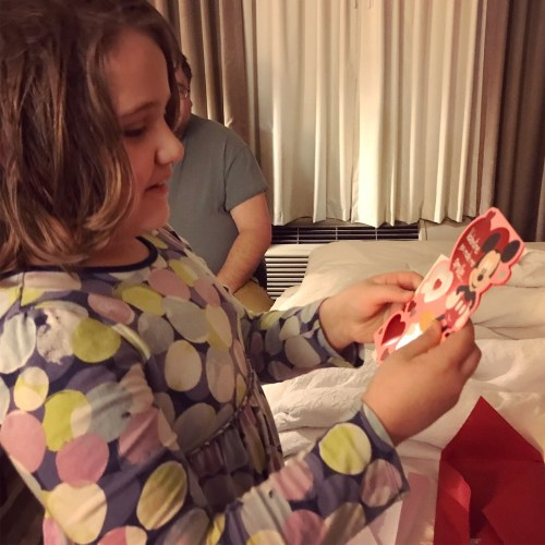 Opening Valentines; each kid got a $50 Disney gift card to spend at the parks.