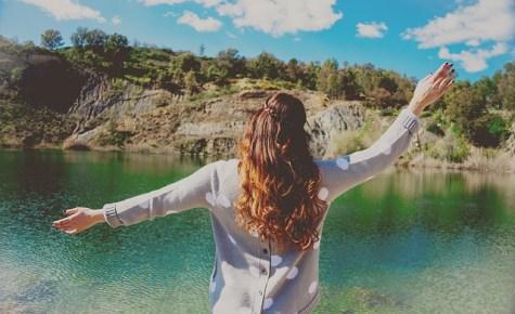 Woman and lake