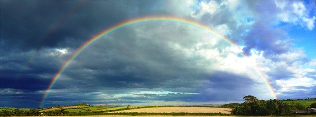Rainbow in storm clouds