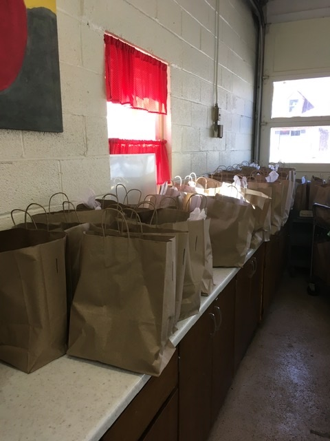 fresh produce bagge up at Caroline Food Pantry