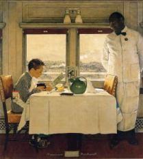 Garçon dans un wagon-restaurant (Norman Rockwell, 1946)
