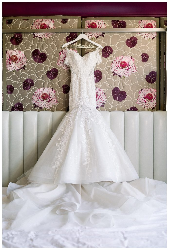 wedding dress at Hotel Monaco in Philadelphia, PA