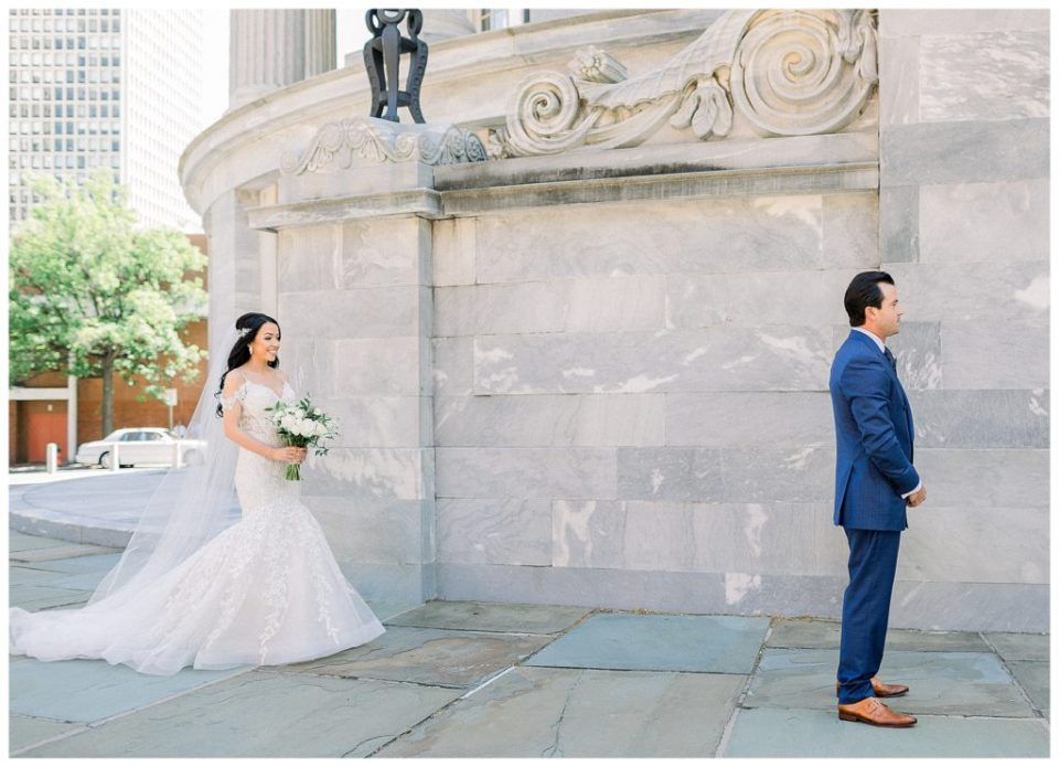bride and groom first look in Philadelphia, PA