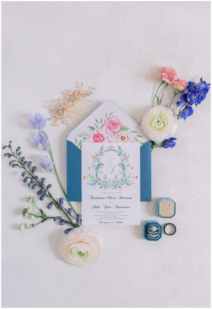 spring wedding invitation suite at Phillipsburg, New Jersey wedding