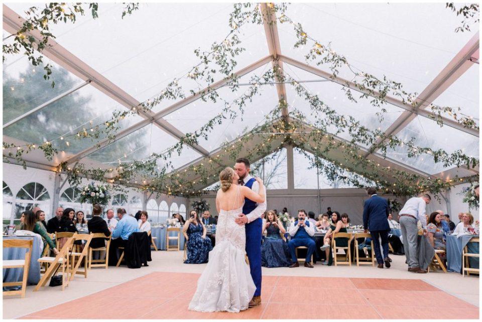 first dance under clear wedding tent at Phillipsburg, New Jersey wedding