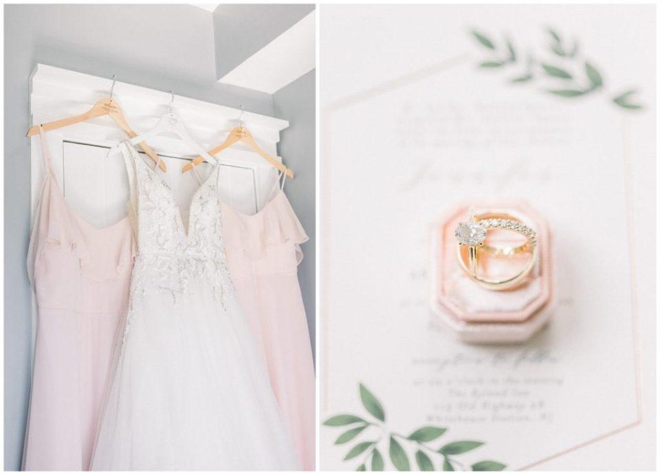 bridesmaids dresses hanging at Ryland Inn wedding