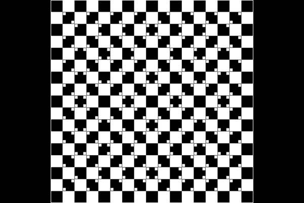 Durch unterschiedliche Farbspiele können Linien, die eigentlich gerade sind (teste es mit einem Lineal!), schief wirken. In der Abbildung sind die winzigen hellen Quadrate in den Ecken der dunklen dafür verantwortlich. Sie stören unser Empfinden für die Trennlinien zwischen den hellen und dunklen Quadraten - und die eigentlich geraden Linien wirken gekrümmt.