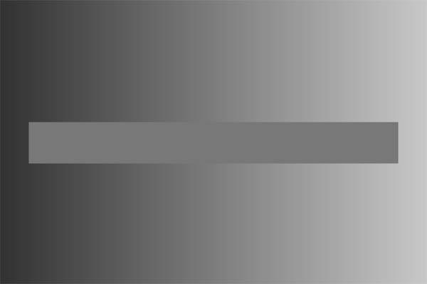 Dieser graue Balken scheint im linken Bildausschnitt heller zu sein und nach rechts hin immer dunkler zu werden. Er ist jedoch überall gleichfarbig. Der Effekt kommt durch die farbliche Veränderung des Hintergrundes zustande. Farben wirken auf dunklem Grund heller und auf hellem dunkler.