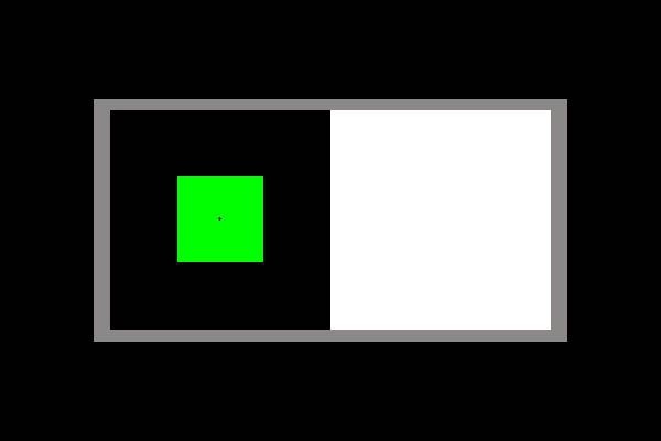 Nachbild: Blickt man eine halbe Minute lang auf das grüne Quadrat und anschließend auf die weiße Fläche rechts daneben, dann erscheint dort ein rotes Quadrat. Wir sehen ein Nachbild auf der Netzhaut, wenn ein Objekt längere Zeit fixiert worden ist und wir unser Auge danach auf eine Kontrastfarbe richten. Das Objekt erscheint dann in der jeweiligen Komplementärfarbe - der entgegengesetzten Farbe (hier Rot).