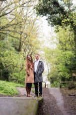 Couple stood on disused railway platform in Harpenden