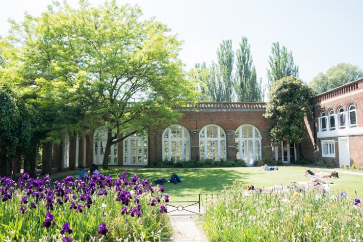 Sunbathers lying on the lawn outside Holland Park cafe