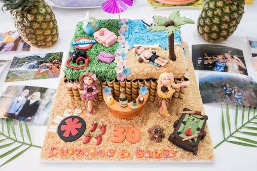 Twins' 30th birthday cake with tropical theme