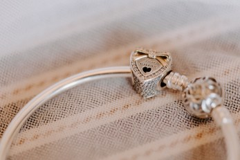Macro photography of heart shaped wedding bracelet