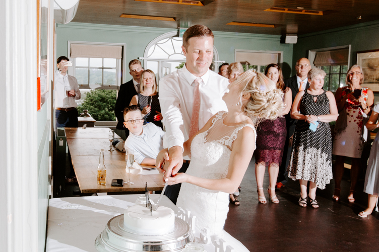 Cutting the cake at Master Builder's wedding venue