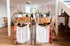 Bride and Groom dreamcatcher chair backs in pink