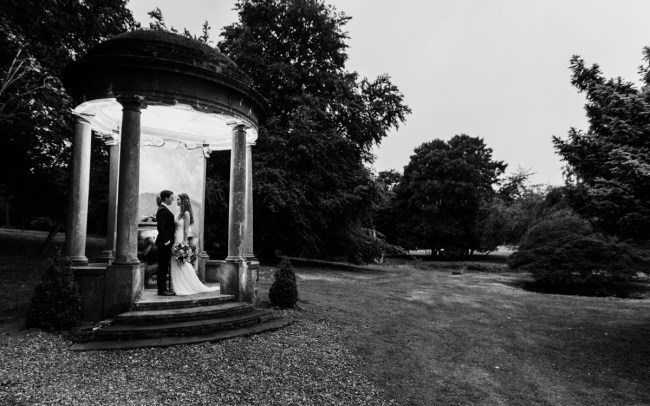 Black and white image of bride and groom in