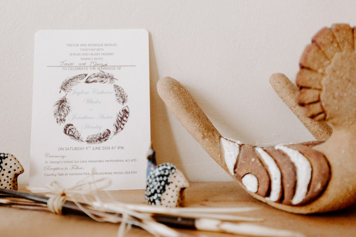 Bohemian wedding invitation design