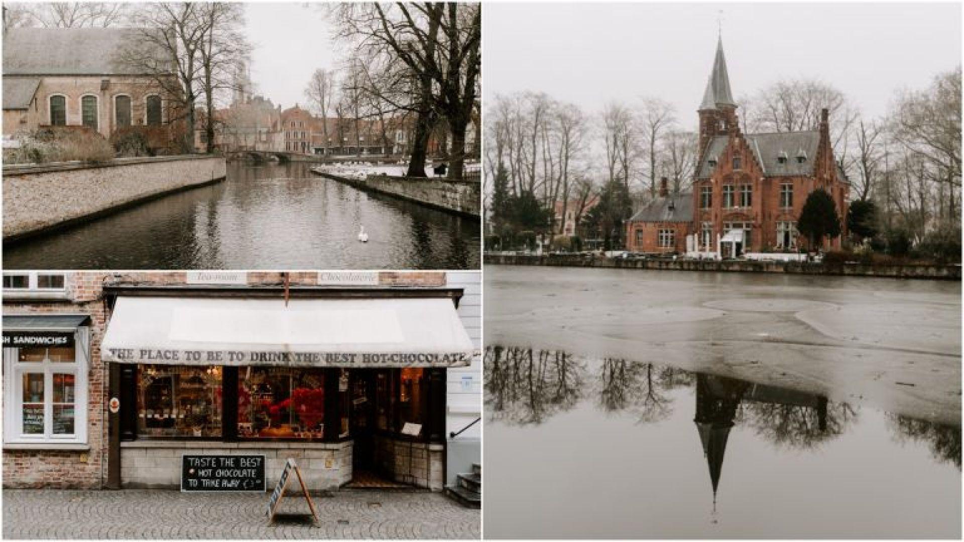 Frozen over lake in Bruges