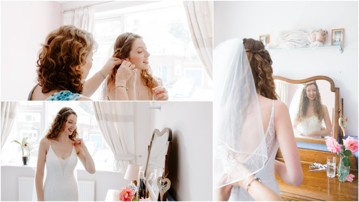 Bride getting ready with her Mum helping
