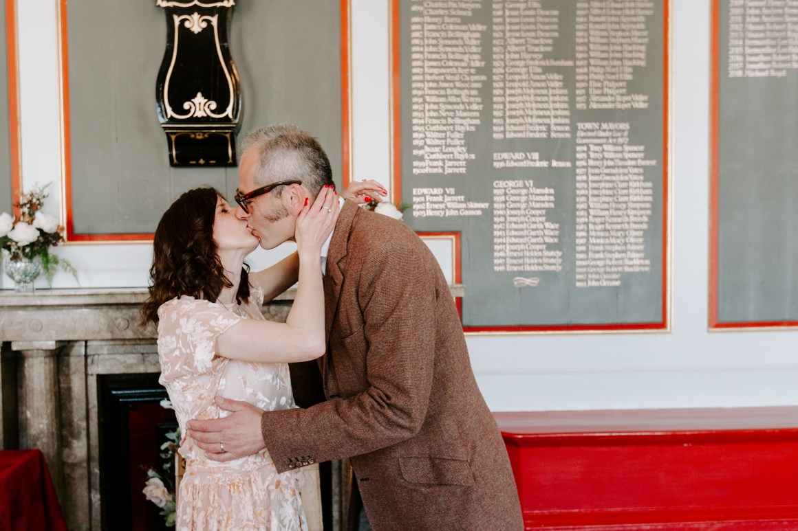 Bride and groom first kiss at Rye Town Hall