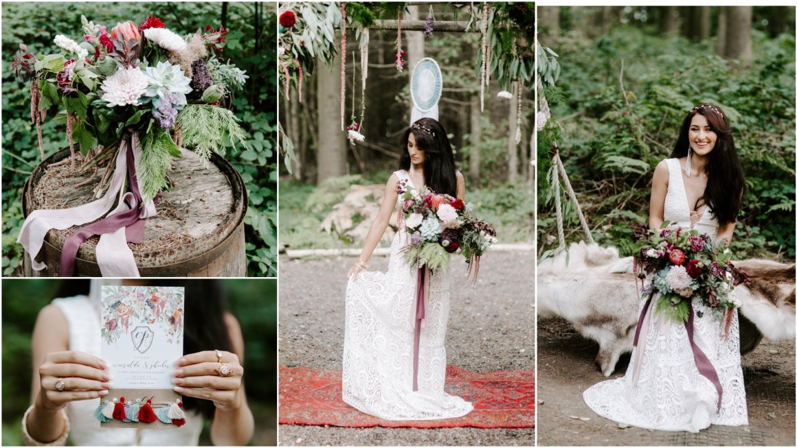 Bohemian outdoor wedding at Longton Wood
