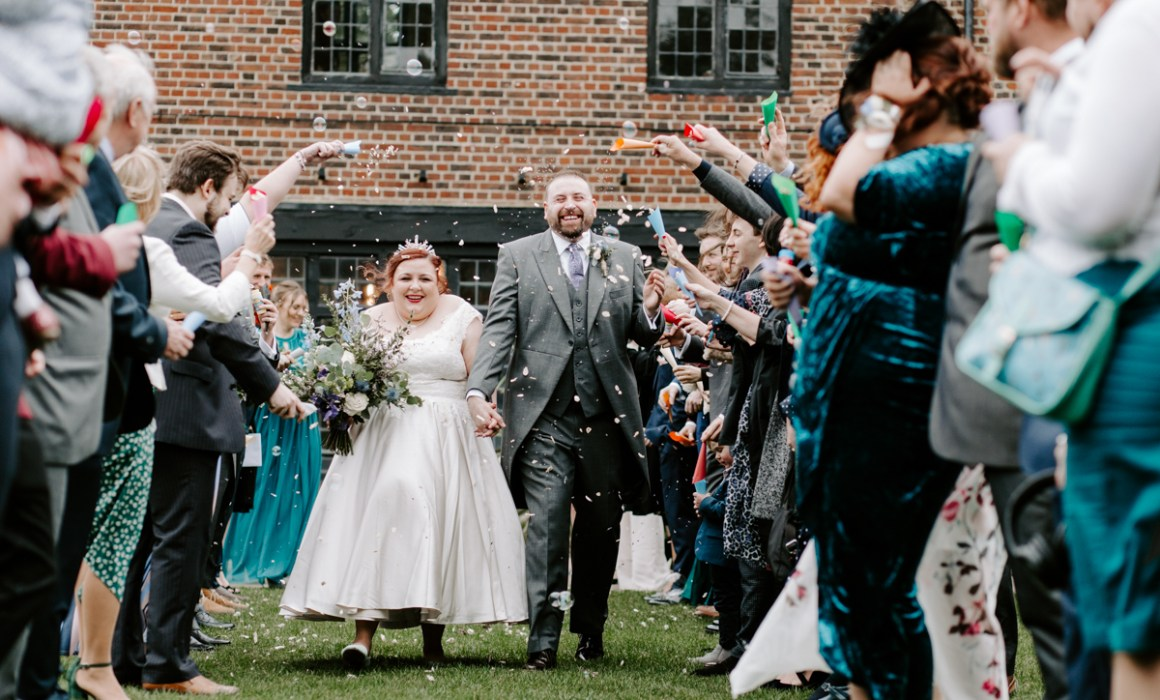 Confetti throwing at the Tudor Barn wedding venue in London