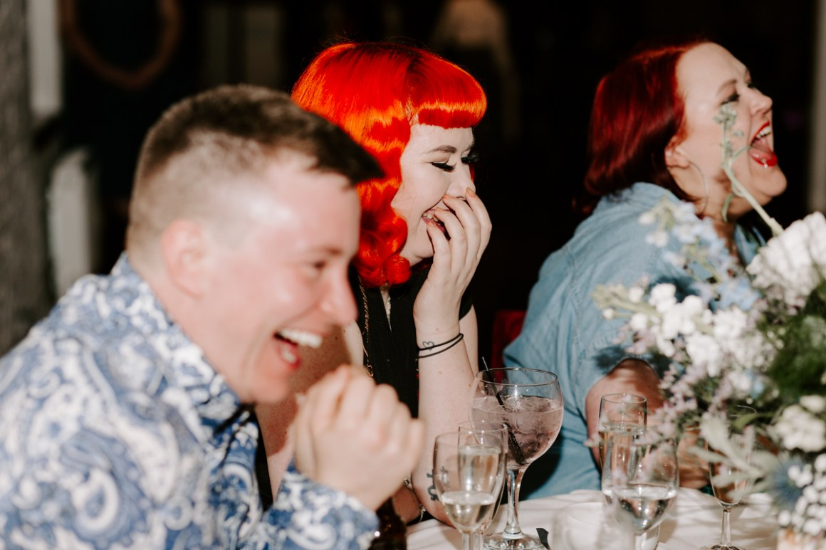 Speech reactions at a London barn wedding